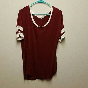 Tops - Flowy Burgundy and Cream T-shirt
